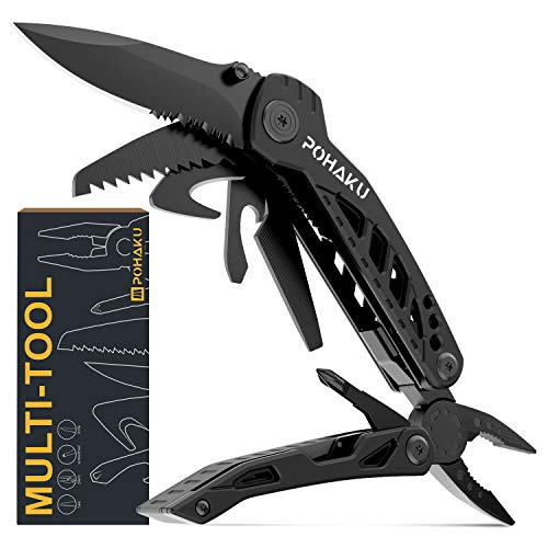 "Multitool Knife, POHAKU 13 in 1 Portable Multifunctional Multi tool with 3"" Large Blade, Spring-Action Plier, Safety Locking Design, and Durable Pouch for Outdoor, Camping, Fishing, Survival and More"