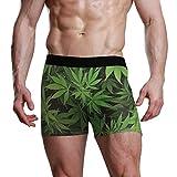 NaiiaN Boxer Briefs für Männer Kinder Jugend Unterwäsche Atmungsaktiv Green Weed Leaf Soft Bequeme Wulst Pouch Unterhose