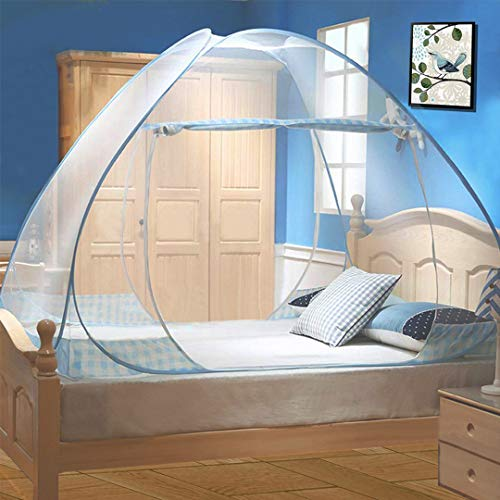 Tinyuet Mosquito Net, 59x78.7in Bed Canopy, Portable Travel Mosquito Net, Foldable Double Door Mosquito Net for Bed, Easy Dome Mosquito Nets- Blue Rim