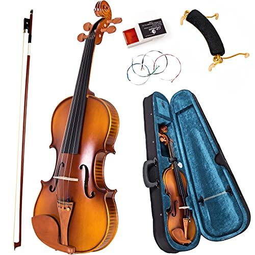 Violin Full Size, AKLOT 4/4 Acoustic Fiddle Kit Solid Maple for Beginner Professional with Hygrometer Rod Shoulder Drag Rosin Strings Blue Lining Gig Bag
