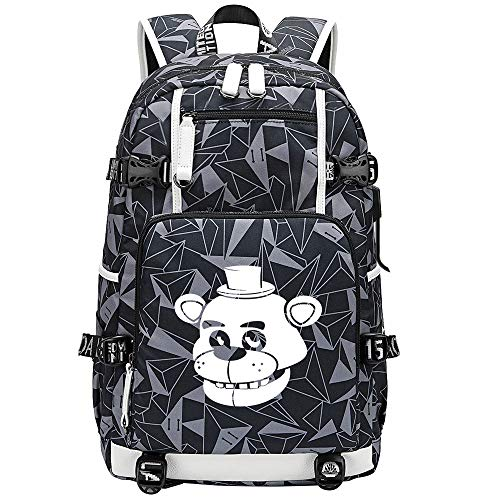 GOYING Five Nights at Freddy's Anime Backpack Rucksack Daypack with for Teen Boys and Girls USB Unisex-D