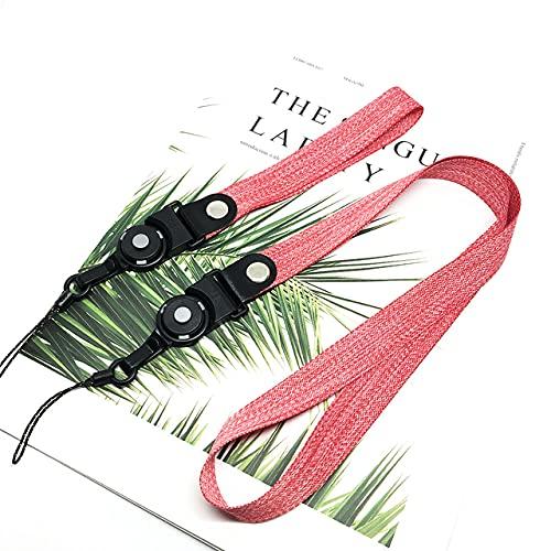 Correas tejidas Cordón de muñeca para el cuello Cuerda de teléfono para iPhone másSoporte universal para teléfono Cordones de correa lisa para llaves, Rosa