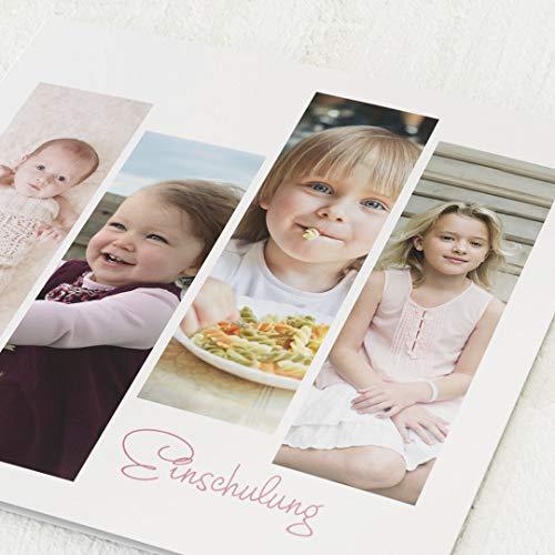 sendmoments Einschulung Einladungskarten, Meine Kindheit, 5er Klappkarten-Set quadratisch, personalisiert mit Wunschtext und -Foto, wahlweise mit passenden Umschlägen im gleichen Design