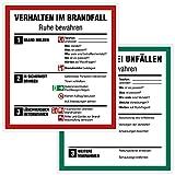 Hochwertiges Verhalten im Brandfall und bei Unfällen Schilder Set - 18x20cm Aufkleber nach ISO 7010 - Betriebsaushang Notfallplan - Unterweisung und Aushang am Arbeitsplatz - Verhaltensregeln