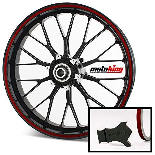 Motoking Felgenrandaufkleber mit Montagetool für Ihr Motorrad in ROT REFLEKTIEREND / 6 mm/für 10