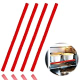 Oven Rack Shields - 4 Pack Heat Resistant Silicone Oven Rack Cover 14 inches Long Oven Rack Edge Protector, Protect Against Burns and Scars (Red)