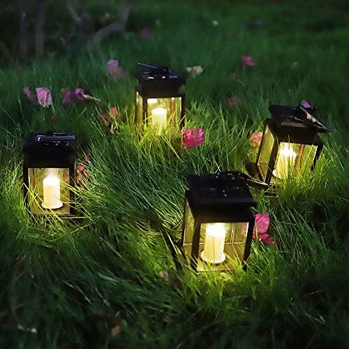 Solar Laterne, Hängend LED Solarlaterne mit Kerze Flickering, Solarlampe für Außen Gartendeko Solar Gartenlaterne in Kerzenoptik 4-er Pack