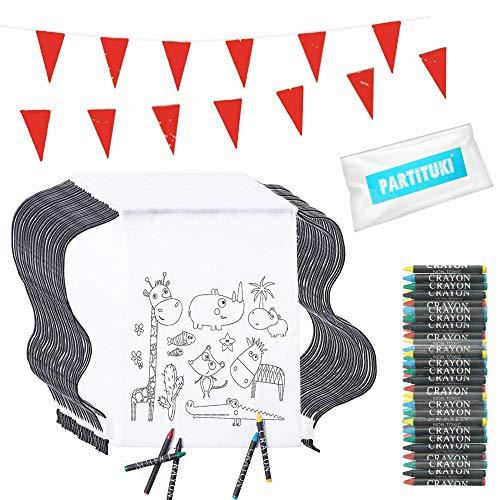Partituki 30 Mochilas de Colorear, 30 Sets de 5 Ceras de Colores y una Guirnalda de 10 Metros. Ideal para Detalles Fiestas Infantiles.
