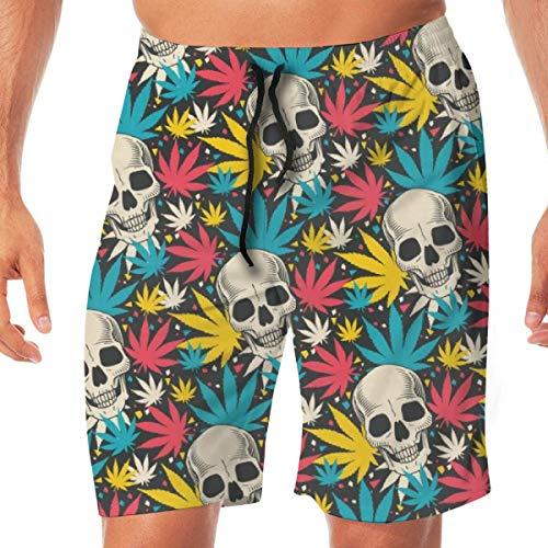 Gekleurde vaas met doodshoofd Foglie Quick Dry Elastische Boardshorts Beach Shorts Swim Trunks Swimsuit met zakken.