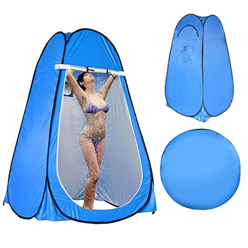LEVORYEOU Privacy Pop Up Tent, Portable Toilet for Camping,Fishing Tent, Outdoor Shower Enclosure Tent, Privacy Changing Beach Tent, Rain Shelter with Window – Easy Set Up, with Carry Bag (Blue)