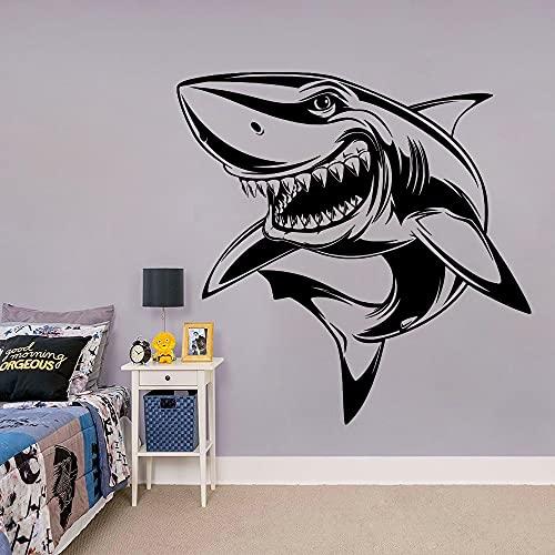 Dibujos animados Sonrisa Tiburón Pez Océano Mar Animal Vinilo Etiqueta de la pared Calcomanía Niños Guardería Dormitorio Sala de estar Baño Sala de juegos Decoración del hogar Mural