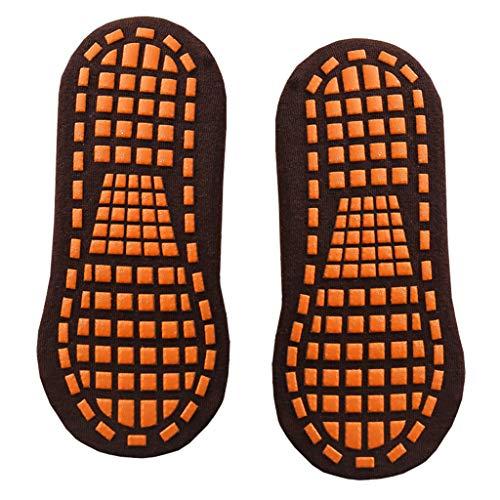 B Baosity Calcetines de Agarre de Silicona para Deportes de Barra de Yoga Antideslizante de Algodón Puro para Adolescentes Y Adultos - café, talla única