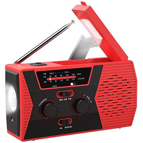 Emergency Radio,Portable Solar Hand Crank Radio AM/FM NOAA Weather Radio, Flashlight Hand Crank Radio 2000mAh Power Bank USB Charger for Smart Phone and SOS Alarm