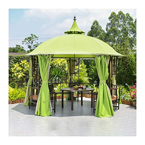 WANGLX Outdoor Gazebos for Patios with Desk, Patio Pavilion, Outdoor Party Pergola with Netting and Curtains for Garden, Patio, Lawns, Parties