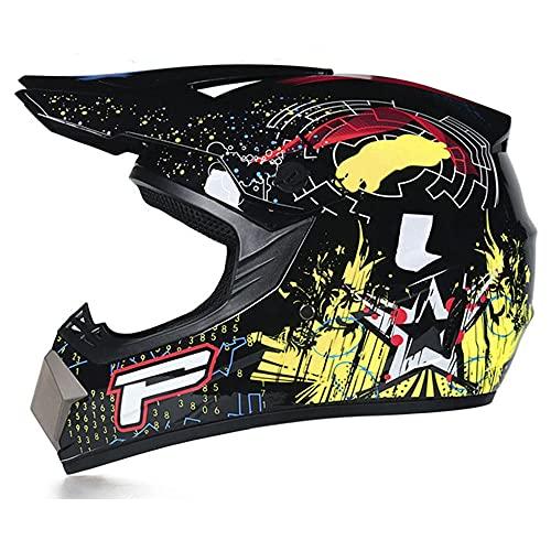 Casco De Motocicleta Casco Protector De Cuatro Tiempos para Hombres Y Mujeres Casco Todoterreno para Adultos Pequeños con Gafas De Casco Máscara Facial Guantes,XL