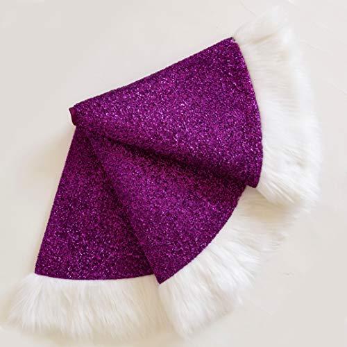 DFDGERG Tree skirt purple bright silk shiny white fur decoration Christmas tree skirt Christmas decoration supplies 90cm A