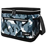 OPUX Lunch Box For Men, Insulated Lunch Bag Women, Shoulder Strap, Side Pockets | Soft Leakproof Lunch Pail for Boys, Kids, Girls | Camo Green Lunch Cooler Tote for School Work Office| Fits 14 Cans
