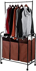 ZHILIAN& Large-Capacity Multi-Function Clothes Storage Rack Brown Metal Iron Home Multi-Function Storage Cart Service Cart
