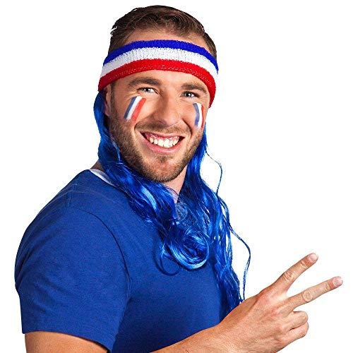 Boland 62047 - Stirnband Frankreich mit Haaren, Einheitsgröße, Weiß, Blau, Rot, dehnbares Kopfband, blaue Haare, Fußball, Fan, Kostüm, Verkleidung, Accessoire, Karneval, Mottoparty
