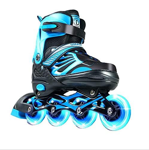 XIUWOUG Roller Skates for Adult Kids Adult Women MenAdjustable Inline Skates 28 42ABEC 7 Bearings 8 LED Flashing Wheels Inline Skates for Boys Girls BeginnersBlueM3437