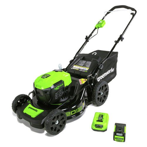 Greenworks 2507802 21 in. 40V Corded Lawn Mower with 4AH Battery44; Green & Black