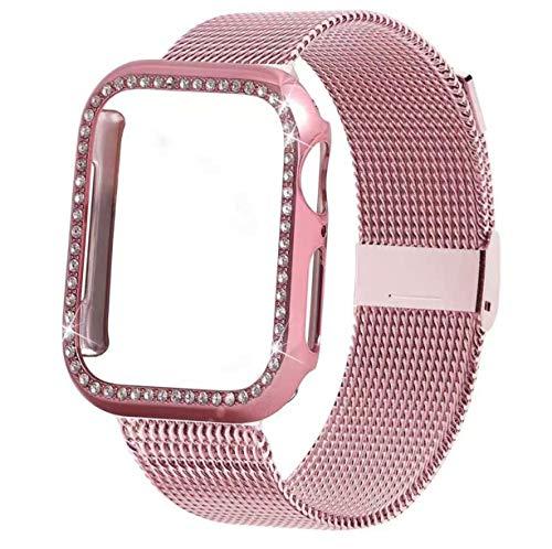 Correa de acero inoxidable para hombre, ligera, transpirable, suave, deportiva, correa de metal, correa de repuesto compatible con Apple Watch Milanese Strap (38 mm/40 mm, rosa rosa)