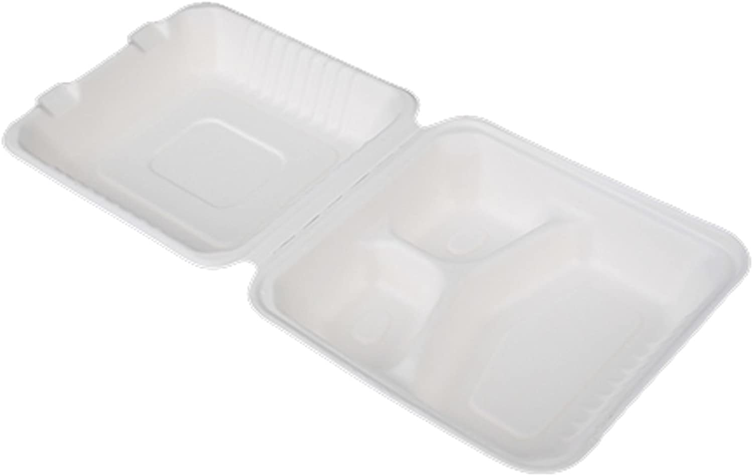 Go-Green Eco-Friendly 100% compostable, Sugarcane Fiber, 9-Inch 3Compartment Hinged Clamshell, 100 Pack