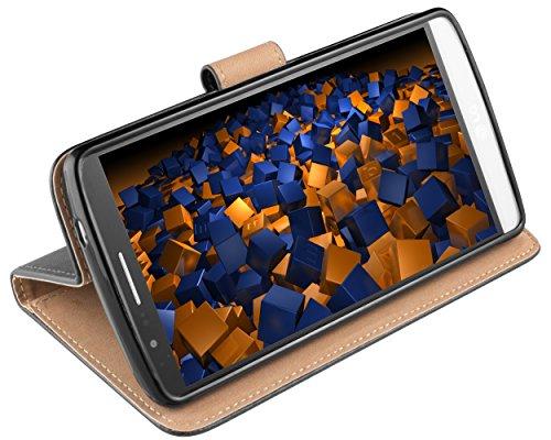mumbi Echt Leder Bookstyle Case kompatibel mit LG G3 Hülle Leder Tasche Case Wallet, schwarz