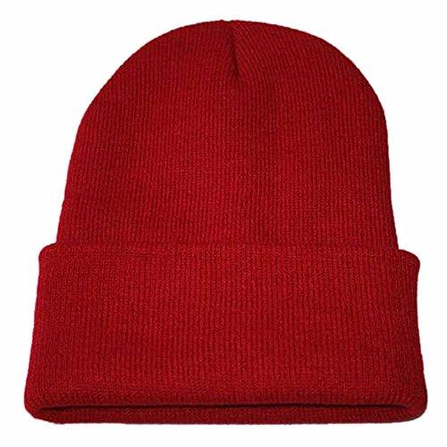 YWLINK Unisex StrickmüTze Slouch Hip Hop Kappe Warmer Winter SkimüTze,Herren Und Damen(Freie Größe,Rot)