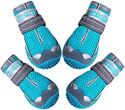 QUMY Dog Boots for Hot Pavement Shoes for Dogs Summer Heat Resistant Booties Mesh Breathable Nonslip with Reflective and Adjustable Straps 4PCS
