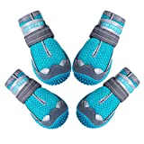 QUMY Dog Shoes for Hot Pavement Boots for Dog Summer Booties Heat Protection Mesh Breathable Nonslip with Reflective and Adjustable Strap 4PCS