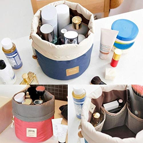 Eubell Travel Cosmetic Bag Makeup Bag Portable Foldable Cases Toiletry Bucket Bags Round Organizer Storage Pocket