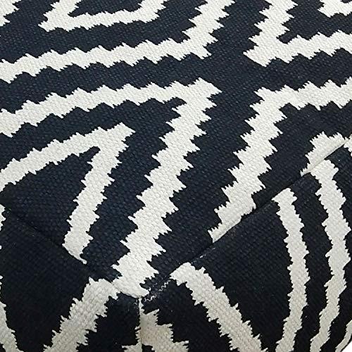 casamia Sitzwürfel Fußhocker Sitzhocker 55x37x55 cm Pouf Kelim Bodenkissen Peru schwarz grau gelb türkis Farbe schwarz