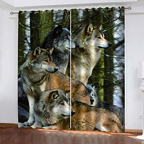 meilishop Solid Thermal Curtains Timberwolves Eyelet Window Living Kitchen Bedroom Wedding Kids Curtains 265(H) x200(W) Cmx2 Panels/set