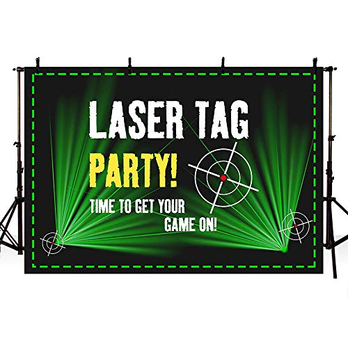 MEHOFOTO Laser Tag Party Backdrops Photography Black and Green Laser Battle Birthday Party Night Neon Game On Indoor Gun Laser Tag Glow Photo Studio...