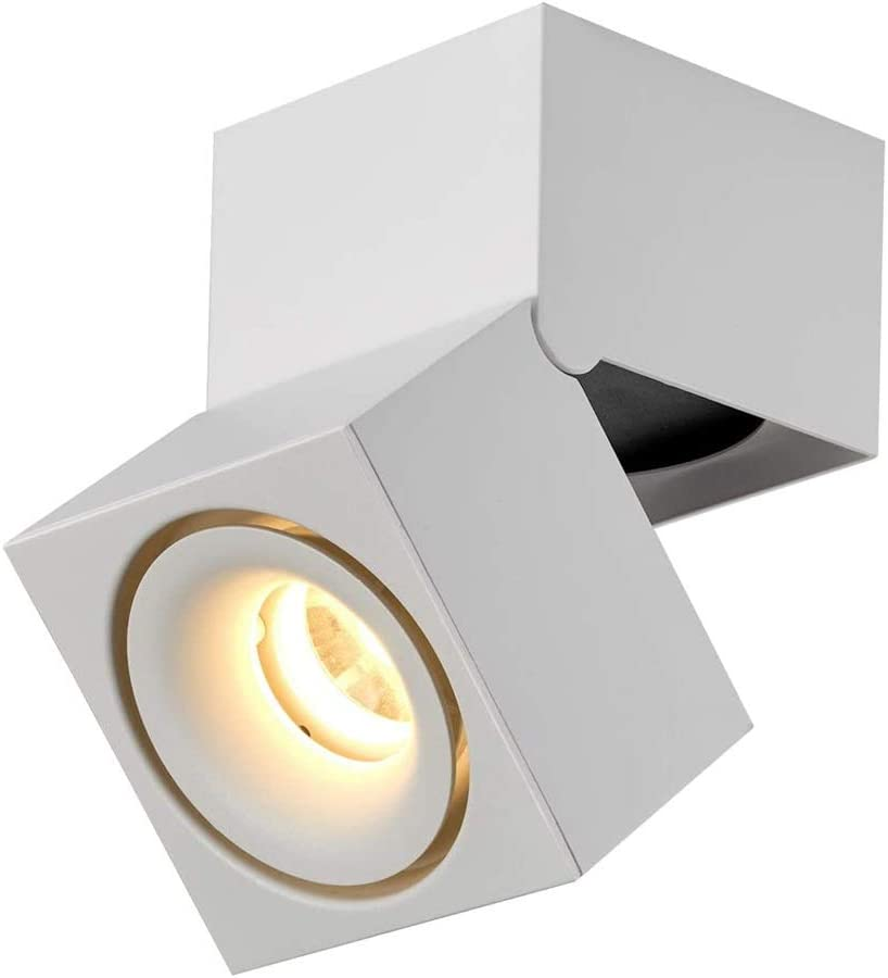 12w Led Indoor Ceiling Spots Lamp Light Spotlight Surface Mounted Spotlights Adjustable Downlight 10x10x15cm Accent Lighting Fixture White Energy Class A Color 3000k Amazon Co Uk Lighting