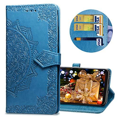 MRSTER Samsung J4 Core Hülle, Premium Leder Tasche Flip Wallet Case [Standfunktion] [Kartenfächern] PU-Leder Schutzhülle Brieftasche Handyhülle für Samsung Galaxy J4 Core 2018. SD Mandala Blue