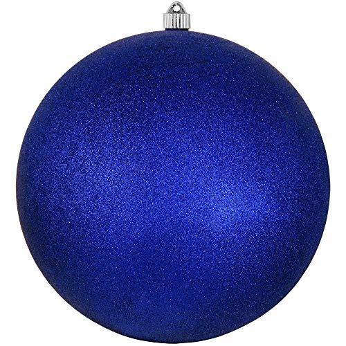 Christmas By Krebs Giant Commercial Grade Indoor Outdoor Moisture Resistant Shatterproof Plastic Ball Ornament, 12 (300mm), Dark Blue Glitter