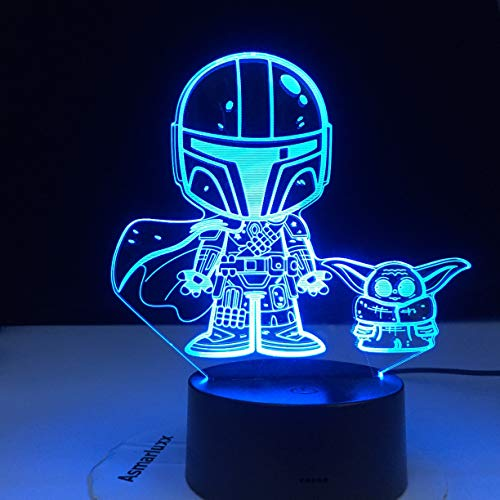 Baby Yoda Night Lights, 3D Bedside Lamp 16 Colors Changing with Remote Control Gifts for The Child Mandalorian Baby Yoda Star Wars Fans Best Birthday Gifts for Boys Girls Kids Baby Adult