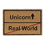 Relaxdays Felpudo para Entrada Unicorn-Real World, Fibra de Coco, Marrón, 40x60x1.5 cm