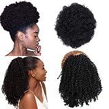 2 Pièces Noir Cordon de serrage Afro Puff Hair Bun Synthétique Crépus Bouclés Queues de Cheval Wrap Updo Extensions de Cheveux Clip en Queues de Cheval Postiches pour Femmes Noires