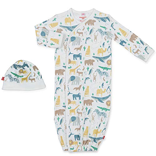 Magnetic Me Baby Gown & Hat Sleep Outfit Boys Organic Cotton Layette Sack Set with Magnet Fasteners Newborn - 3 Months Serengeti