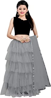 Ocean Fashion Girl's Net Semi-Stitched girl's Lehenga Choli for 9-12 Year Girls (Black; Free Size)