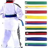 Lunji - cinturón para taekwondo, karate, Judo 250x 4cm, diferentes colores a elegir, azul, 250cmx4cm