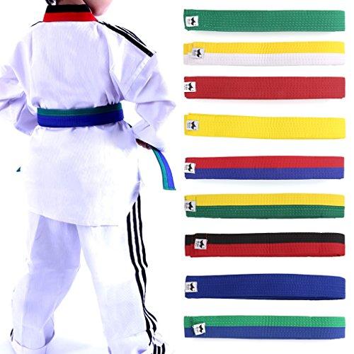 Lunji Gürtel für Taekwondo Karate Judo, 250 cm x 4 cm, 9 Farben., Weiß/Gelb, 250cmx4cm