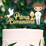 cake topper per torta comunione   prima comunione bambino con statuina sagomata   ideale sopra torta e dolci festa   decorazioni addobbi torte eleganti con disegno statuetta bimbo