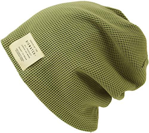 [ビッグワッチ] 帽子 大きいサイズ サーマル ニットキャップ カーキ/MIXグレー P-13 メンズ L XL