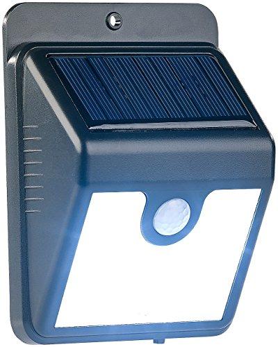 Luminea Solar Aussenleuchte: Solar-LED-Wandleuchte mit Bewegungssensor & Nachtlicht-Funktion, 50 lm (Solarlampe Bewegungsmelder)