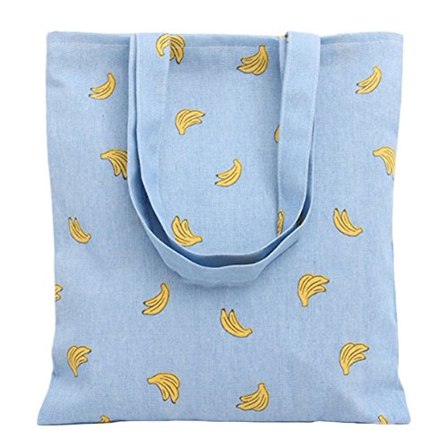 Wicemoon Bolsa de Lona de Dibujos Impresos de Banana Mochila Portátil Bolso de Hombro Bolsa de La Compra Azul