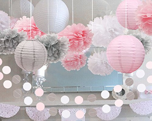 luckylibra Girl Party Decorations?Birthday Party First Birthday Baby Shower ?Paper Flower Pom Poms?Circle Garlands? Paper Lantern?